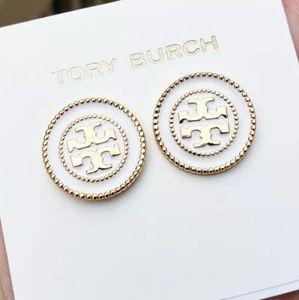 Tory Burch White & Gold Button Logo Stud Earrings
